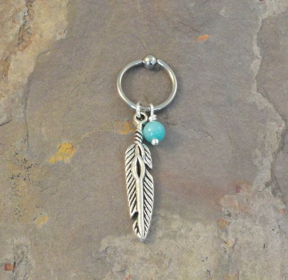 Tribal Feather CBR Hoop Cartilage Bead Hoop by MidnightsMojo