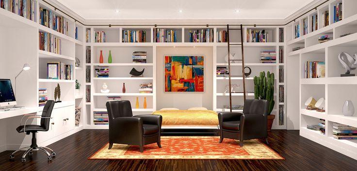 Bookshelf hallway hall midcentury with botanical curtain botanical ...