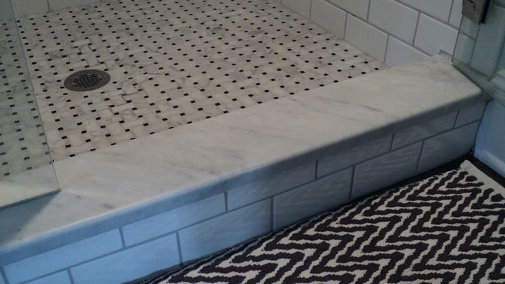 Shower tile idea basket weave floor tile marble for Marble threshold bathroom
