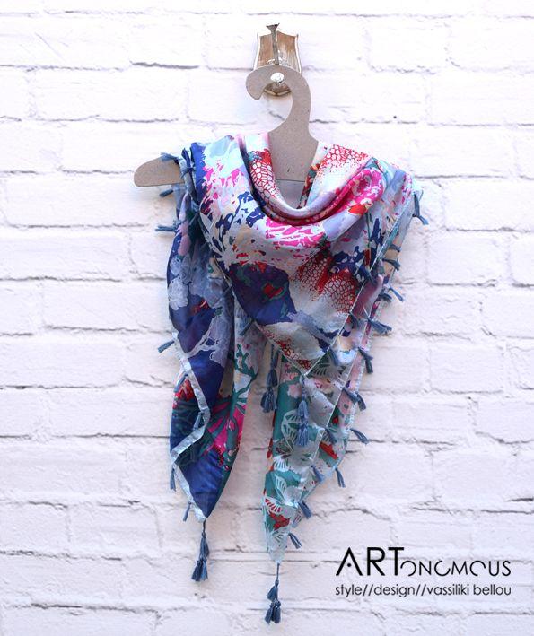 Silk scarf with tassels // artonomous.gr
