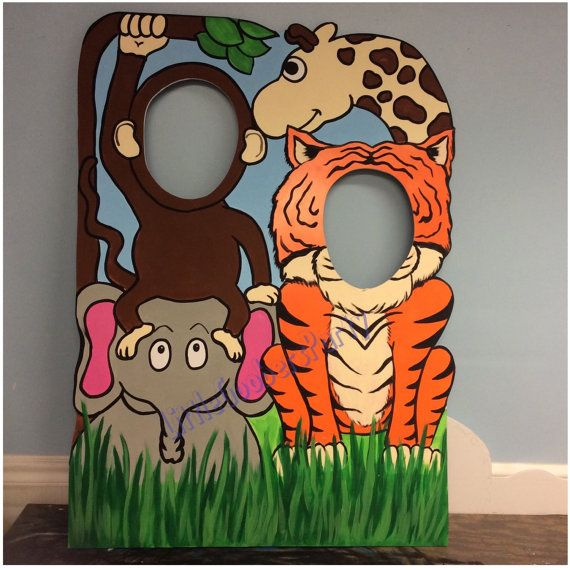 This Hand Painted Jungle Theme Cutout will be a hit at any birthday party or event!! Photo fun for everyone! So Quit monkeying around and buy one!! :)  This cutout is Hand Painted on 40x30 Foam Core Board standing about 3.5 feet tall. *A stand is also included*  Please message me the following Before ordering: - Party Date - any special requests - personalization (for a small fee)  *this listing is for 1 cutout*  Check out these adorable cutouts/balloon weights to match this Jungle theme…