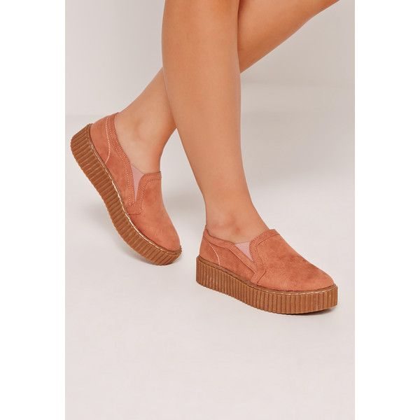 Missguided Creeper Flatform Skater Pumps Nude ($43) ❤ liked on Polyvore featuring shoes, pumps, pink, pink creeper shoes, nude court shoes, nude footwear, nude shoes and skate shoes