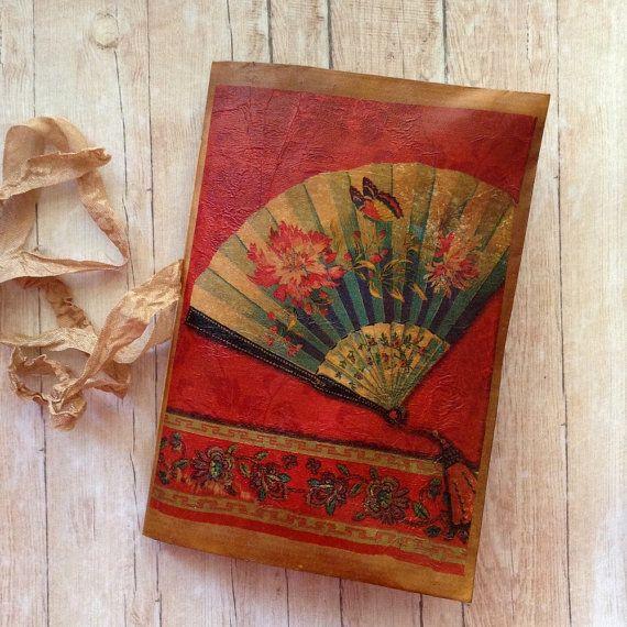 Handmade Junk Journal. Japanese Fan by AStoryFullOfJournals