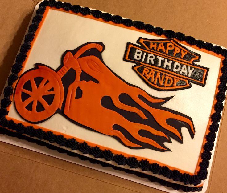 Harley Davidson cake with buttercream logo #harleydavidson #livetoride #motorcyclecakes #sheetcakesdonthavetobeboring