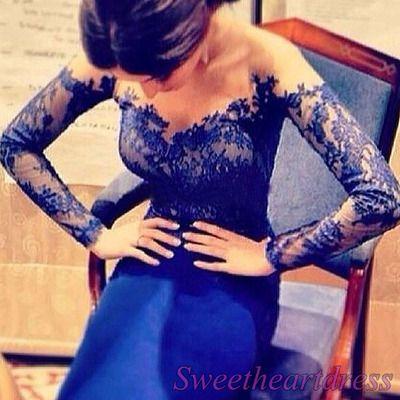 Sweetheart personalizar marino a largo vestido de fiesta formal de encaje azul