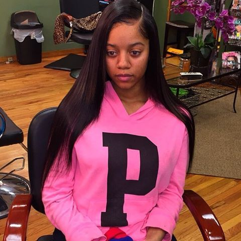 sew in side part pressed bone straight