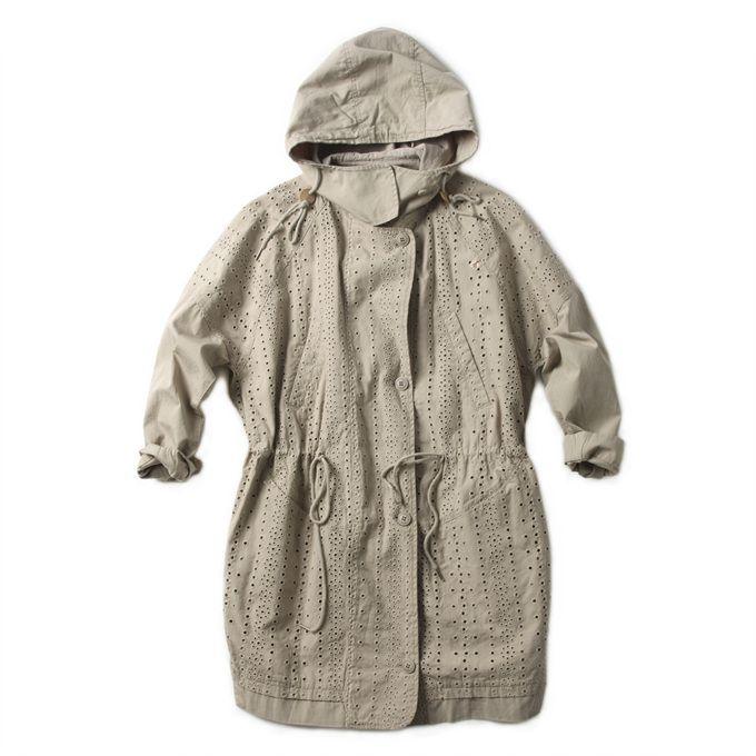 [Thursday Island] Women Outerwear Jackets Women's Eyelet Embroidered Long Length Hoody Jacket T142MJP136W