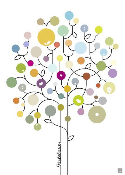 Eine schöne Erinnerung, passend zu jedem Anlass, sei es Geburtag, Hochzeit, Taufe, Konfirmation, ... Und so funktionierts (s. Bild 2): 1.Der Gast schreibt seinen Namen oder seinen Wunsch einen runden Aufkleber. 2. Der Aufkleber wird nun auf dem Gästebaumplakat platziert. 3. Fertig! Der Baum ist zum Leben erweckt.