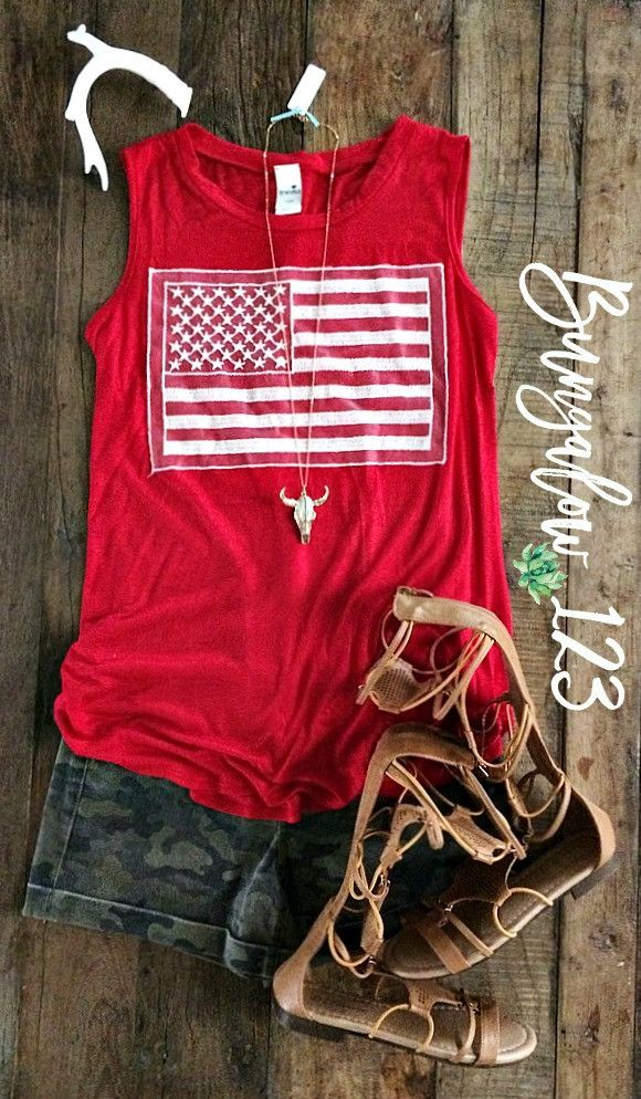 American Flag Tank - Red
