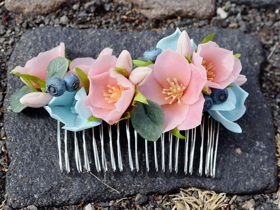 This is bridal flower hair comb, wedding accessories  Flowers are made entirely by hands from cold porcelain  Custom orders are welcome.