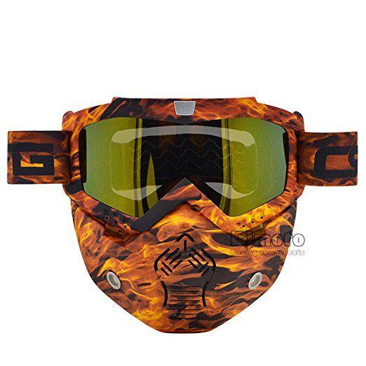 New Camouflage Ski Skate Motorcycle Goggle Motocross Goggles Helmet Glasses Windproof off Road Moto Cross Helmets Mask Nueva moda gafas de Motocross gafas de máscara de casco desmontable y filtro de boca para modular moto Vintage Open Face casco máscara, OR-GO