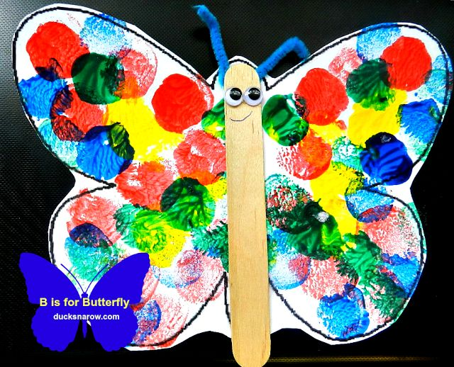 B is for Butterfly Preschool Lesson and Craft #butterflies #preschool www.ducksnarow.com