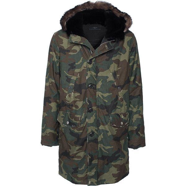 Amiri Cotton Camo Green // Camouflage parka (4,330 CAD) ❤ liked on Polyvore featuring men's fashion, men's clothing, men's outerwear, men's coats, mens camo coat, mens hooded coat, men's cotton sport coat and mens parka coats