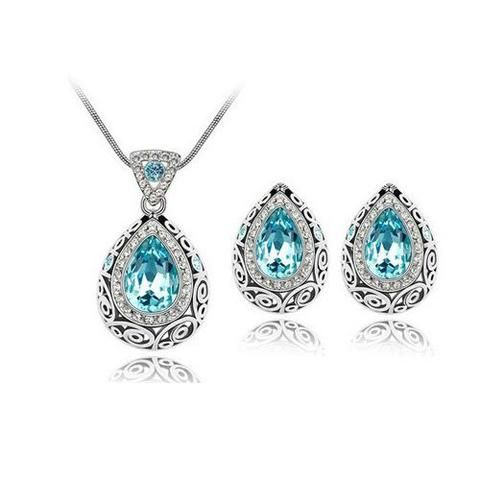 Vintage Style Blue Topaz Genuine Australian Crystal Necklace & Earring Set - UCHARMME.co.nz