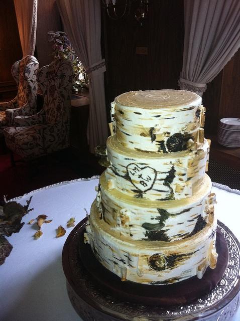 Birch Wedding Cake But With Purple Hydrangeas