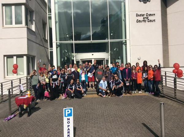 All participants of the Magna Carta Legal Walk outside Exeter Court http://www.cartridgeslaw.co.uk/latest-news/exeter-magna-carta-legal-walk-fundraising-update