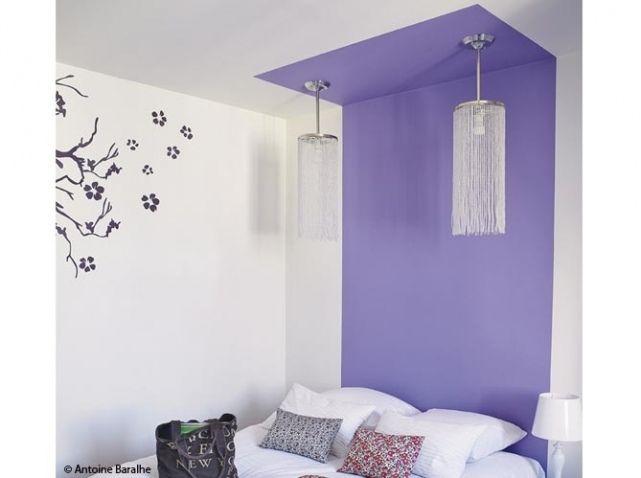 Tete de lit baldaquin en peinture (évidement pas en violine et avec d'autres luminaires !)