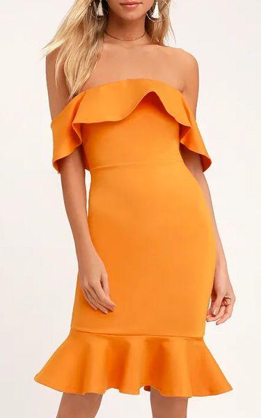 40c1bf63f9e Confidence Boost Orange Off-the-Shoulder Bodycon Dress - BestFashionHQ.com