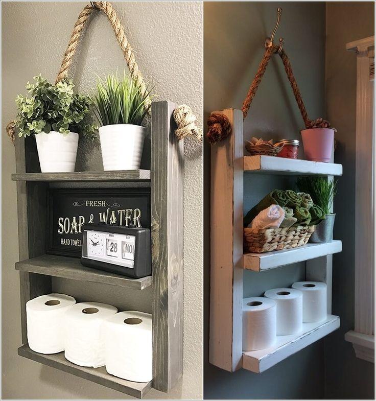 Wunderbare rustikale Aufbewahrungsideen für Ihr Badezimmer