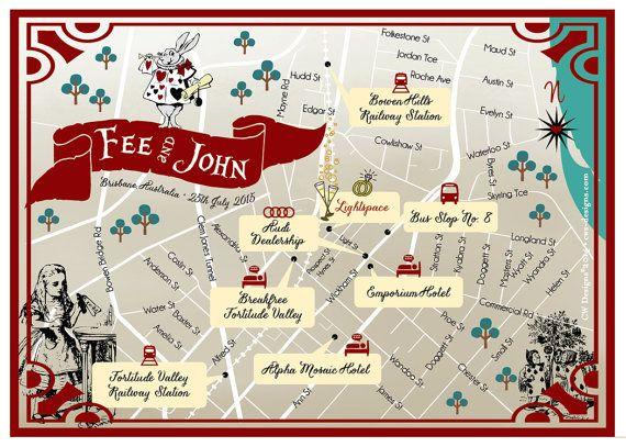 Custom Map Brisbane Australia by cwdesigns2010 on Etsy $255 Alice in Wonderland cws-designs.com