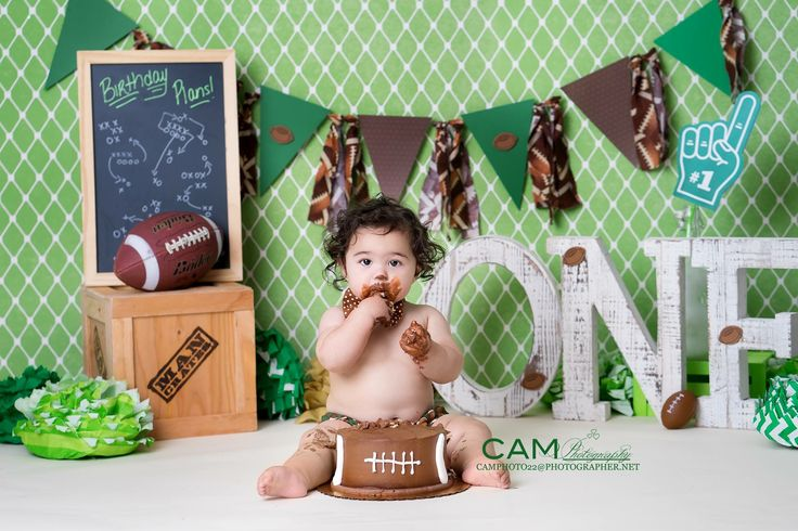Football First Birthday Photo Shoot.   | first birthday | cake smash | photo | theme | ideas  | messy | one | nj photographer | 1st | one | boy | baby