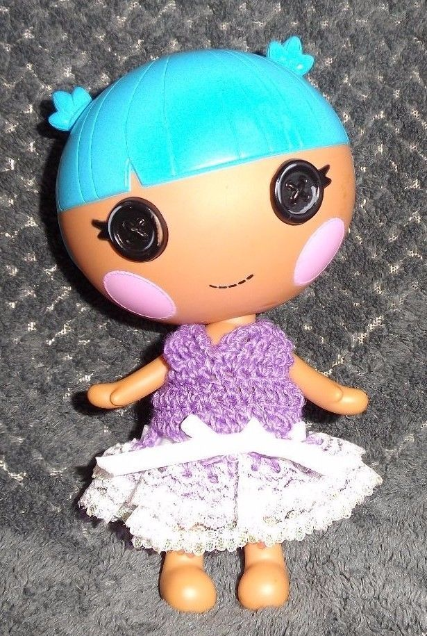 LalaLoopsy Little sister's Lilac CROCHET DRESS WITH white eyelet lace skirt