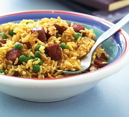 Great for an emergency meal as the ingredients of this spicy sausage recipe are likely to be in your cupboard