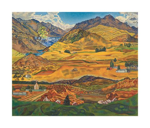 Rita Angus - Central Otago 1938  Gallery Prints