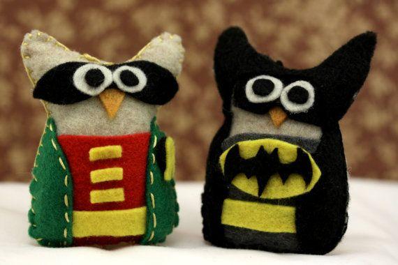 Felt Owl Ornaments - Batman and Robin Owl Set - Owl Decor - Superhero Costume