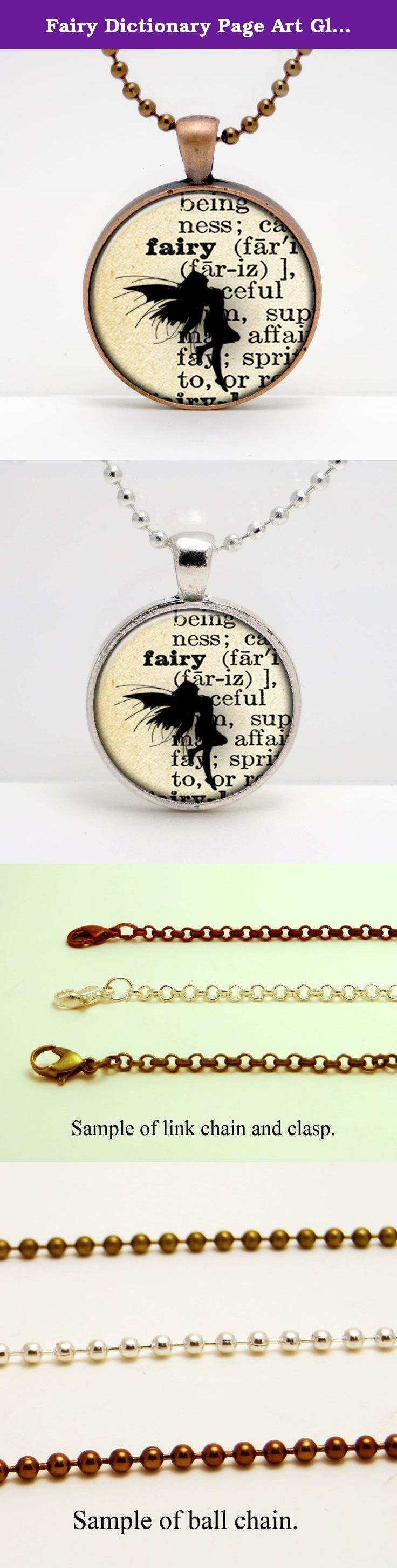 "Fairy Dictionary Page Art Glass Pendant or Key Chain- 30 mm round- Chain Included- Made to Order. This image is set in a 30 mm bezel and comes complete with a 24"" matching chain or matching key chain. Please choose from silver, copper, or bronze for the bezel and chain color. Please choose from a link chain, ball chain or key chain. This listing is for the glass art pendant and 24"" chain, or pendant and key chain. My glass art pendants are handcrafted using a high quality pendant bezel…"
