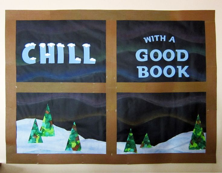 Northern lights library bulletin board. Tissue paper trees. Chalk pastel norther lights. Silhouette Cameo cut letters.