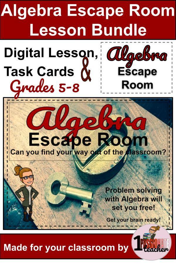 Digital Algebra Lesson and Escape Room Grades 5-8 ...