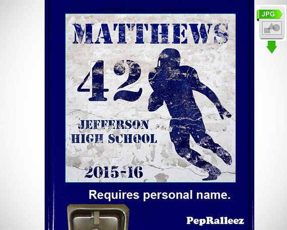 School Locker Sign Decorations, Personalized Grunge Football Locker Sign Decoration, PepRalleez  This dynamic graphic marks the school year and makes