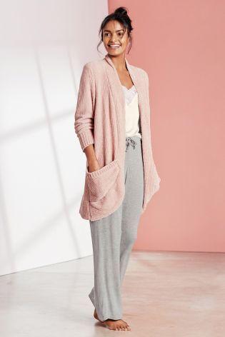 Pink Chenille Cardigan