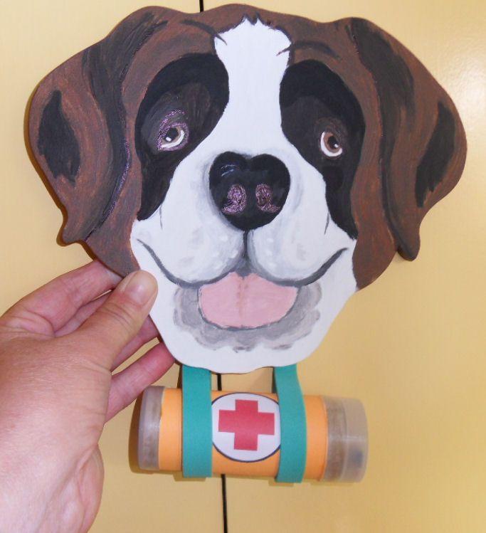 St Bernard dog made from wood