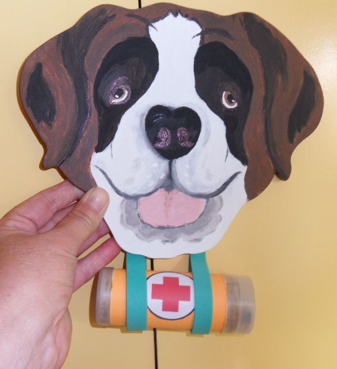 St Bernard dog made from wood