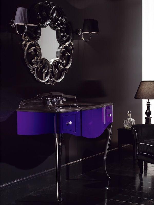 Badezimmer Konsole Waschtisch Design modern Ideen ovaler Spiegel Holz stilvoll farbschema dunkel