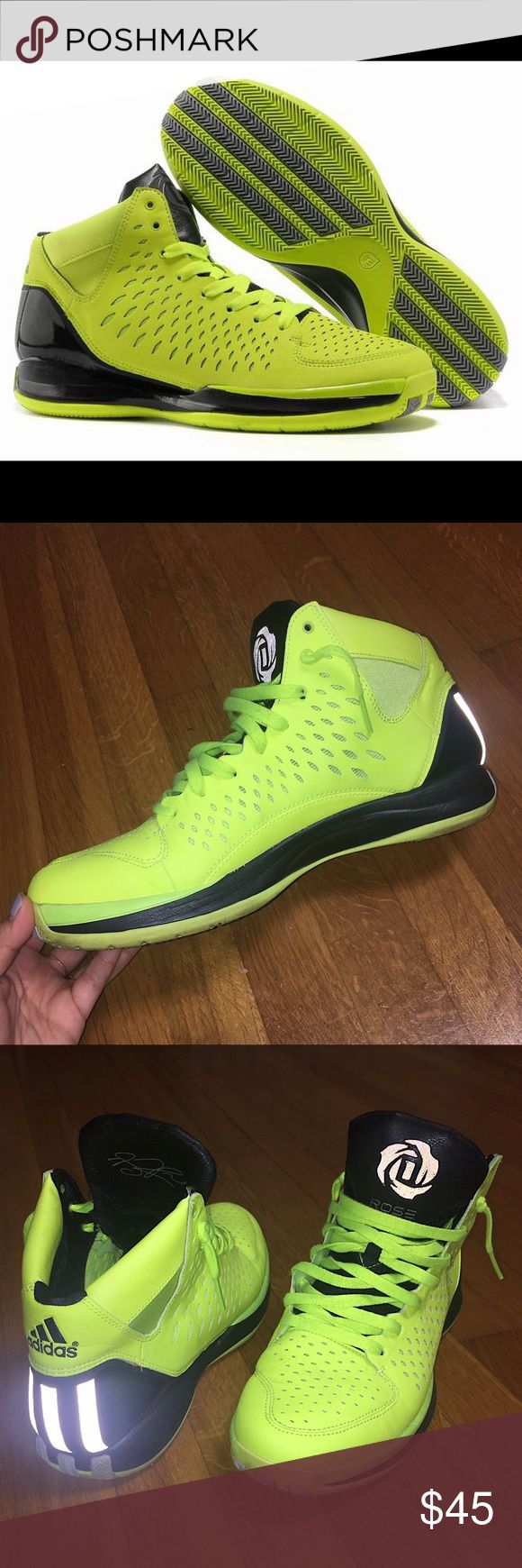 Men's Adidas Adizero Derrick Rose 3.0 Adidas Adizero Derrick Rose 3.0 basketball sneakers in neon yellow and black. Worn once, in great condition. Designed with hyperfuse construction for unmatched light-weight flexibility and breathability. Adidas Shoes Sneakers