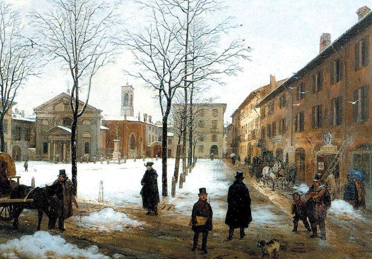 Angelo Inganni, Piazza Borromeo, 1846
