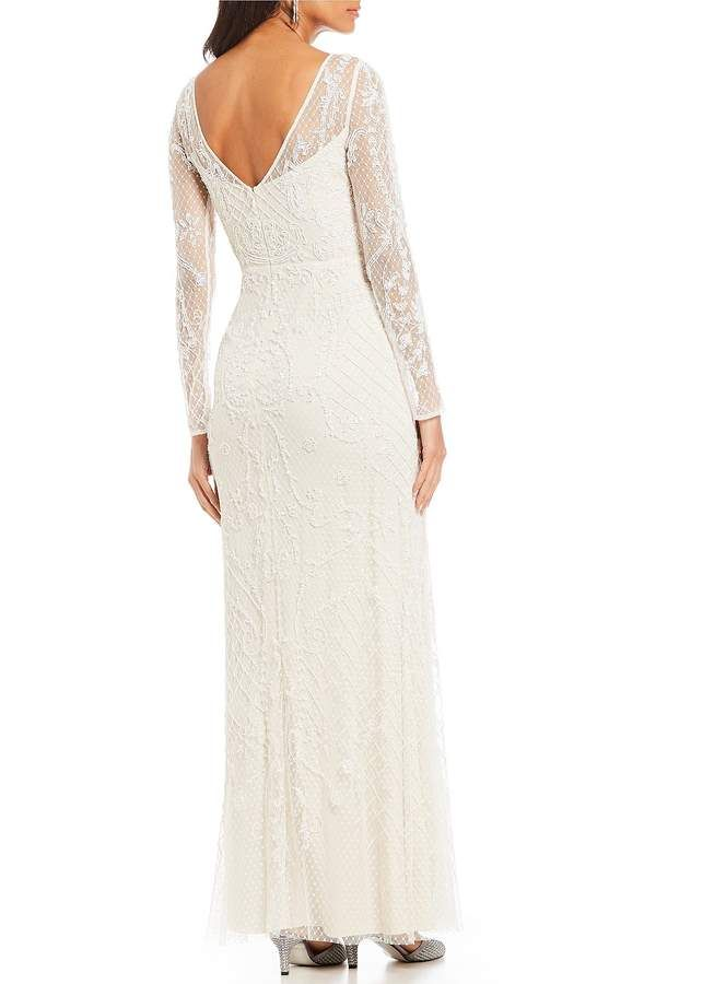 e2cfe4b5971b Adrianna Papell Long Sleeve Lace Beaded Illusion Gown  Long Sleeve Adrianna