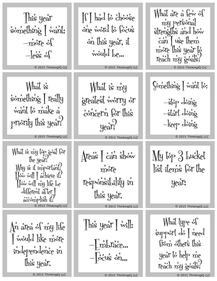 FREE New Year's Conversation Starters & Writing Prompts. 36 Questions- 12 Reflective & 24 Goals and Resolutions for the new year