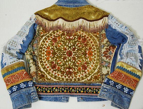 70s Vintage Bohemian DENIM JACKET Patchwork Velvet by cruxandcrow, $289.00