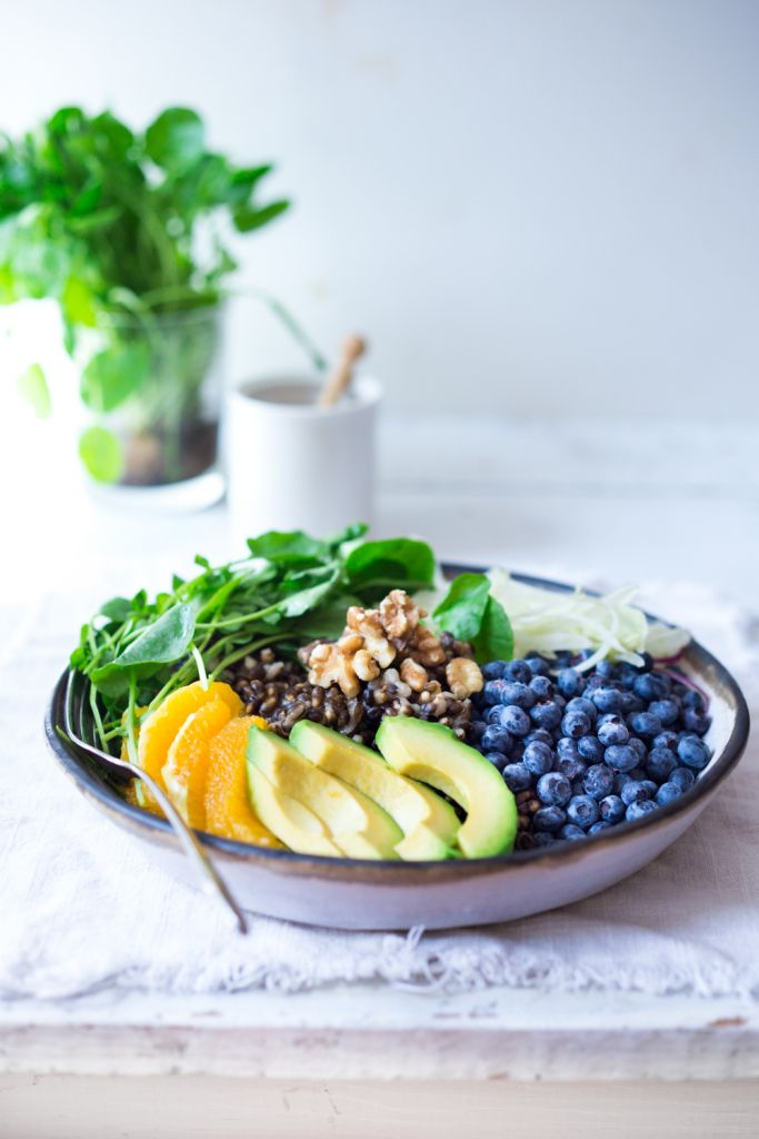 Summer Glow Bowl- a healthy, hearty salad loaded with fruits and vegetables that make the most impact on your skin, giving you a healthy glow! Vegan and delicious!   www.feastingathome.com