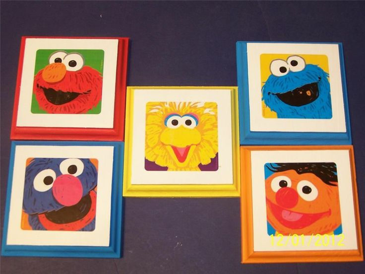 PBS Sesame Street Wall Plaques decor bedding 5 plaques signs kids nursey decor