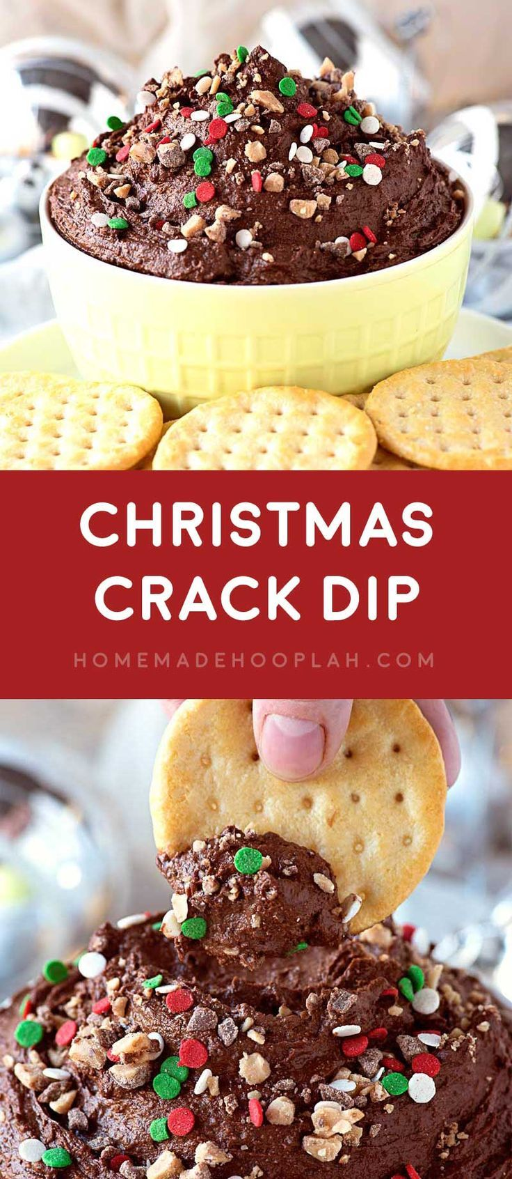 Christmas Crack Dip! A festive dip that's perfect for saltine toffee lovers! Ultra creamy chocolate with Heath toffee bits and dipped with your favorite salty crackers.   HomemadeHooplah.com