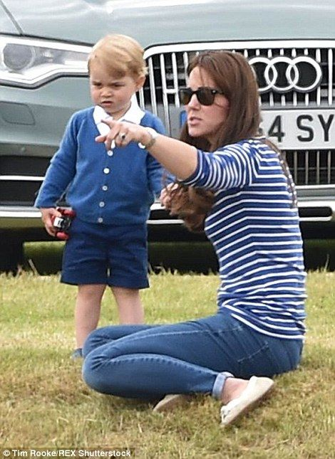 George, who turns two next month, looked every inch the fledgling prince in his smart attire, polo stick in one hand, car in the other 14 June 2015
