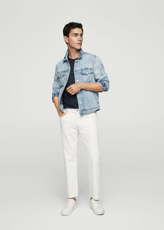 Straight Fit White Jeans Man Mango Man Slovenia In 2020 White Jeans Men White Outfit For Men Jeans Outfit Men