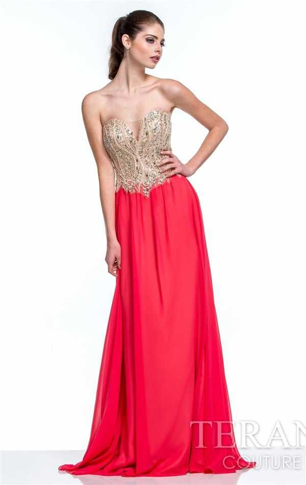 Terani 151P0027 Strapless Beaded Long Prom Dresses Discount