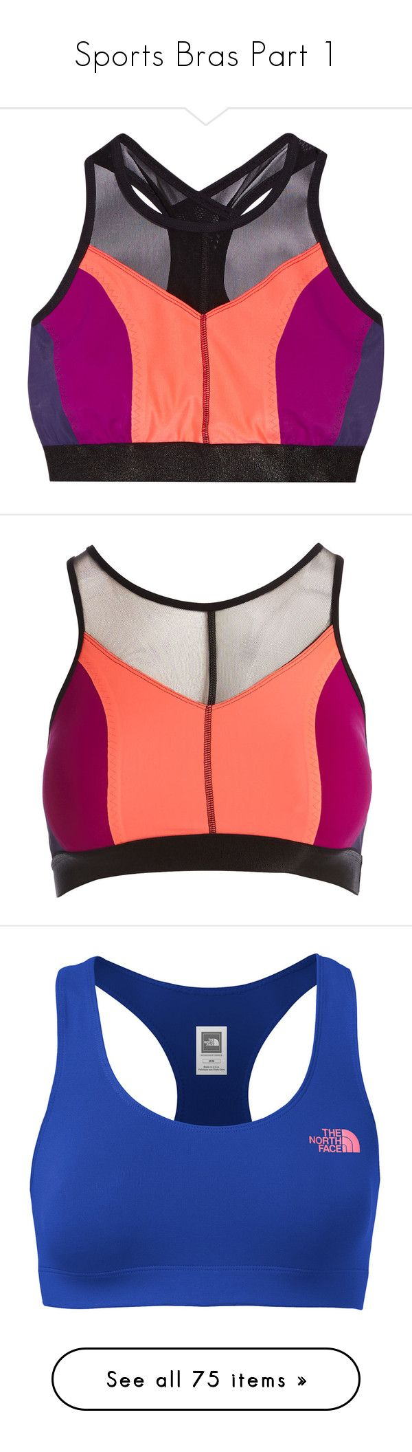 """""""Sports Bras Part 1"""" by allison-epps ❤ liked on Polyvore featuring activewear, sports bras, coral, red sports bra, racerback sports bra, stretch jersey, racer back sports bra, fit for the summer, the north face and strappy sports bra"""