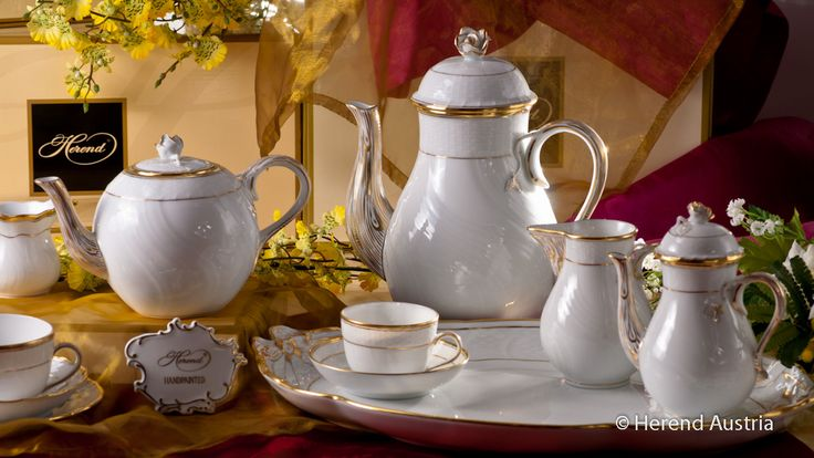 Coffee Pot, Tea Pot and Creamer Herend Porcelain - Hadik, HD pattern